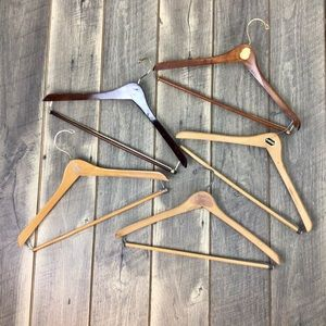 Lot of 5 Vintage Wood Suit Hangers